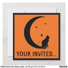 Halloween Cat, Stars, and Moon in Silhouette Invitation Christmas Photo Cards, Christmas Photos, Holiday Cards, Halloween Christmas, Halloween Cat, Irony Humor, Note Cards, Thank You Cards, Stationery Paper