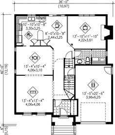 Traditional Style House Plan - 4 Beds 2 Baths 2249 Sq/Ft Plan #25-2044 - Houseplans.com Mediterranean House Plans, Monster House Plans, Surface Habitable, Architecture, Traditional Design, Floor Plans, Flooring, How To Plan, Baths