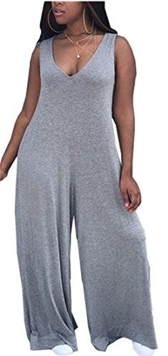 5fd59efb63 Jaycargogo Womens Casual V-Neck Sleeveless Loose Fit Palazzo Pants Jumpsuit  Romper