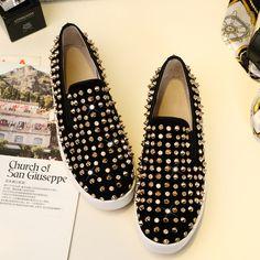 Loafers shoes bottomed female rivet leather platform doug shoes flat women's singles lazy tide shoes