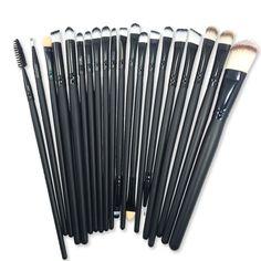 Pro 20 Unids Pinceles de Maquillaje Profesional sombra de ojos cepillos Polvos Sombra de Ojos Delineador de ojos Pincel de Labios Herramientas # B20