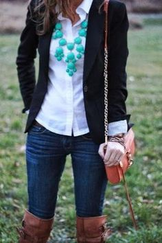 Black blazer, white shirt, statement necklace, jeans and boots for fall by Anix