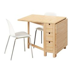 Ikea Table and 2 chairs, birch, white chrome plated 12204.20517.22