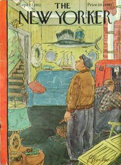 New Yorker cover Perry Barlow furnace repairmen 9/27 1952