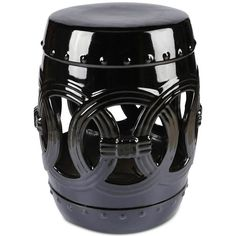 Kunis Ceramic Garden Stool, Quick Ship ($125) ❤ liked on Polyvore featuring home, outdoors, patio furniture, outdoor stools, black, outdoor ceramic stool, outside patio furniture, outdoor patio furniture, oriental garden stool and outdoor ceramic garden stools