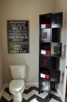 lockers in the boys bathroom - Bathroom Decorating Ideas For Guys