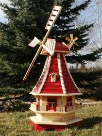Holzdekoladen Holzwindmühle mit Solarbeleuchtung Typ 3.1 | holzdekoladen