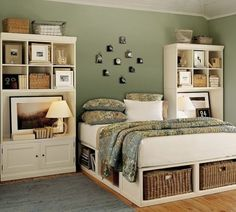 Great bedroom storage, both underbed storage and book cases as night stands with cube storage on top. So cool.