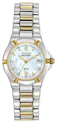 344272a4425 Citizen Women s Eco-Drive Riva Diamond Accented Watch with Mother of Pearl  Analogue Display and Stainless Steel Bracelet - The Sterling Silver Com