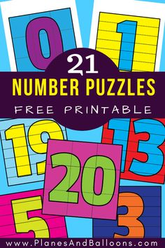 Fun free printable number puzzles for preschool and kindergarten. Number puzzles perfect idea for math centers and morning work. - Kids education and learning acts Learning Numbers Preschool, Numbers Kindergarten, Free Kindergarten Worksheets, Free Preschool, Preschool Printables, Preschool Activities, Counting Activities, Kindergarten Classroom, Educational Activities