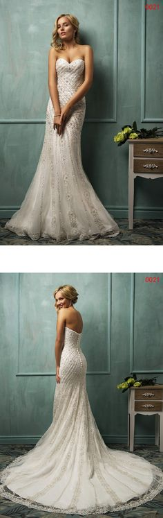 Love this Sexy Tulle Sheath Wedding Dresses With Beads!