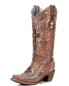Women's Cognac/Bone Inlay Cross & Studs Boot - C2853 - <div>All Corral boots are hand-crafted to high standards of quality and feature a lightly cushioned insole for walking comfort. </div><div><br></div><div>**Corral boots tend to run narrow around the instep. If you are unsure of your size for this Corral boot, we recommend ordering a half size larger than the size you wear in a regular dress shoe.**</div><div><br></div>