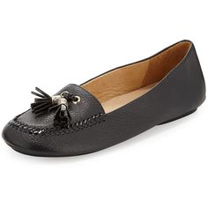 Jack Rogers grained leather loafer.  0.25 flat heel.  Patent leather whipstitching at round toe.  Light golden tassel detail on vamp.  Leather lining and padde…