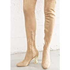 Nude Thigh High Clear Heel Boot