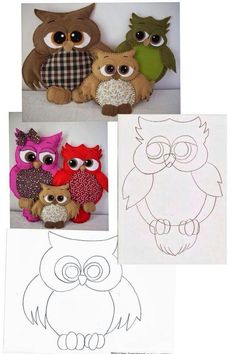 20 Trendy ideas for sewing pillows animals felt Owl Sewing, Sewing Toys, Sewing Crafts, Sewing Projects, Fabric Toys, Fabric Birds, Fabric Crafts, Felt Fabric, Felt Owls