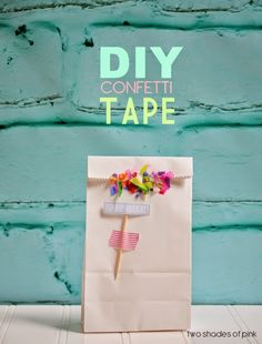 DIY Confetti Tape great for gift bags and making gifts a little bit happy! From Two Shades of Pink