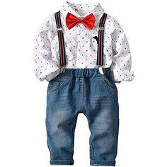 bc830e3da1e2c ZOEREA 4 Pièces Vêtements Ensemble de Bébé Garçon Manches Longue Carreaux  Chemise Bleu Jeans Bretelles Noeud