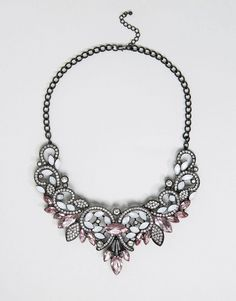Pieces Fazzy Statement Necklace $40 At Asos Silver black matte finish, jewel embellished, statement design, adjustable length https://api.shopstyle.com/action/apiVisitRetailer?id=616359791&pid=uid841-37799971-81
