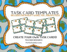 1000 images about middle school high school geography for Blank task card template