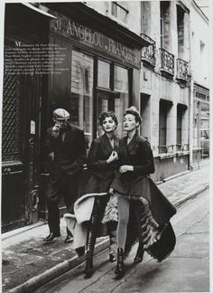 Helena Christensen and Marie-Sophie Wilson for Paris Vogue, Photo by Peter Lindbergh. Helena Christensen, Peter Lindbergh, White Photography, Street Photography, Fashion Photography, Photography Ideas, Vogue Paris, The Wombats, Milla Jovovich
