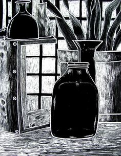 Scratch Art, Still-life Study - Conway High School Art Project