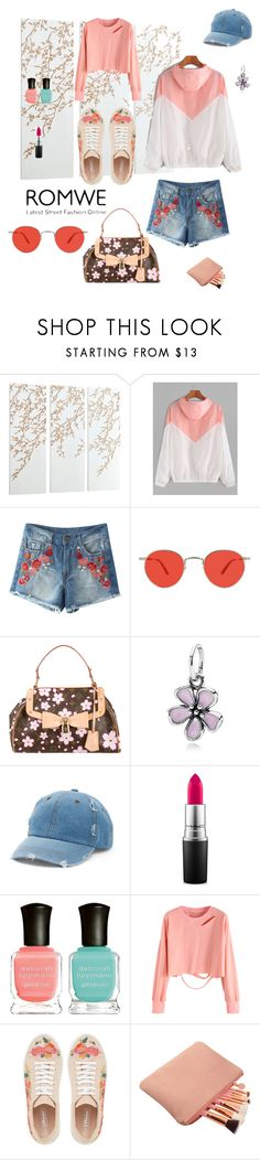 """Cherry blossom"" by ali23bo ❤ liked on Polyvore featuring Cyan Design, Garrett Leight, Louis Vuitton, Pandora, Mudd, MAC Cosmetics and Deborah Lippmann"