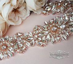 Rose gold belt bridal belt rose gold sash by MagnificenceBridal