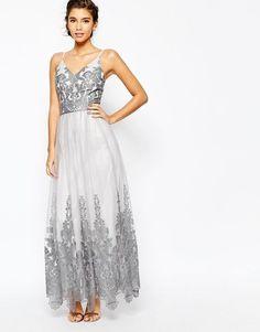 Chi Chi London Cami Strap Premium Lace Maxi Tulle Prom Dress UK 10/EU 38/US 6