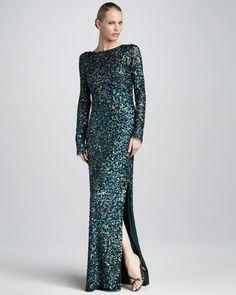 ShopStyle: Aidan Mattox Sequined Bateau Gown