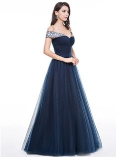 Ball-Gown Off-the-Shoulder Floor-Length Tulle Evening Dress With Ruffle Beading (017056135) - JJsHouse