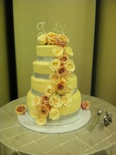 Beautiful 4 tier wedding cake made by Yaya's Sweet Surprise Cakery.