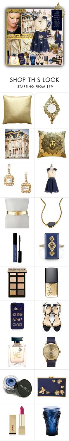 """""""Golden Memories & Navy Dreams (please read D.)"""" by angie-in-reverie ❤ liked on Polyvore featuring Pillow Decor, Malabar, Badgley Mischka, Carolee, Tory Burch, Janna Conner Designs, Le Métier de Beauté, Bobbi Brown Cosmetics, NARS Cosmetics and Kate Spade"""