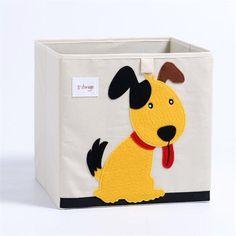 Cube storage box - dog Fabric Storage Boxes, Storage Boxes With Lids, Kid Toy Storage, Cube Storage, Storage Baskets, Storage Ideas, Basket Organization, Kids Room Organization, Cube Shelving Unit