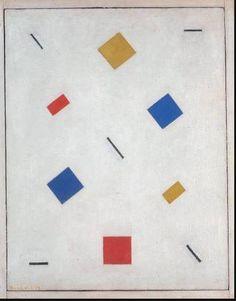 Bart van der Leck. Composition (1918) – Huile sur toile, 74 × 63 cm, Tate Gallery, Londres