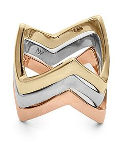 Studio Silver Tri-Tone Rings, Chevron Stackable Ring Collection - Rings - Jewelry & Watches - Macy's