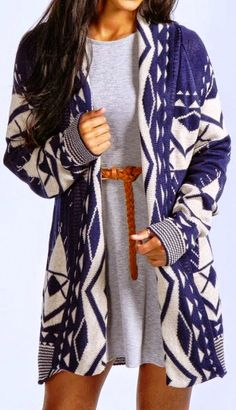 White and Blue Aztec Cardigan