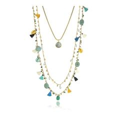 Tory Burch Necklaces Blue and vintage Gold Coin and Tassels... ($365) ❤ liked on Polyvore featuring jewelry, necklaces, blue, gold circle necklace, tassel necklace, vintage bead necklace, beaded necklaces and layered necklace