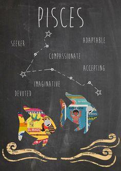 Zodiac Pisces Constellation and Traits Art Print