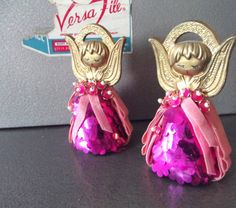2 Truly Adorable 1960s 1970s Vintage Sequin Velvet Bright Pink Fuschia Angel Ornaments