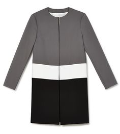 A colorblock mod coat gives a classic spin on spring's black and white trend.