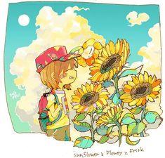 Undertale pacifist ending surface life Undertale Cute, Frisk, Aesthetic Art, Aesthetic Anime, Manga Art, Anime Art, Planting Sunflowers, Outline Illustration, Underswap
