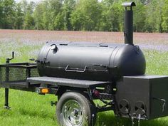 BBQ pit trailer built by me -christhewelder- Bbq Smoker Trailer, Bbq Pit Smoker, Barbecue Pit, Bbq Grill, Best Portable Grill, Smoker Cooker, Custom Bbq Pits, Offset Smoker, Bbq Catering