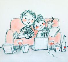 Drawing date night Cool Art Drawings, Pencil Art Drawings, Cartoon Drawings, Art Sketches, Cute Couple Sketches, Cute Couple Art, Couple Illustration, Character Illustration, Love Cartoon Couple