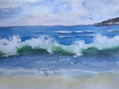 Crashing waves in watercolour with a bit of guache