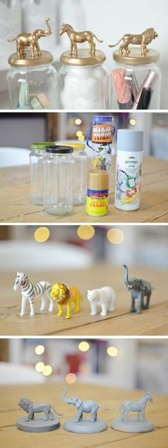 Check out the tutorial: #DIY Gold Animal Jars #crafts