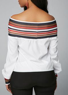 9f3d0332a0dc6c Striped Long Sleeve Off the Shoulder White Blouse