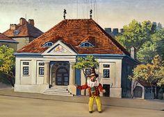 """Ponche Larifari Fundada en frente de telón de fondo pintado del 1900 construido construir para el 1858 """"Munich Teatro de marionetas"""" por Johann Leonhard Schmid"""