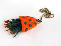 Felted necklace  pendant necklace hand felted  felt by Dagneart, $29.00