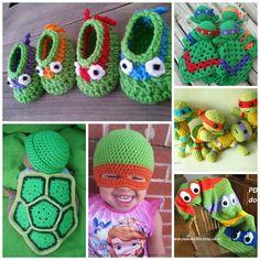 The Cutest Ninja Turtle Crochet Patterns - Crafty Morning Crochet For Boys, Learn To Crochet, Crochet Baby, Easter Crochet Patterns, Crochet Blanket Patterns, Crochet Ninja Turtle, Ladybug Crafts, Plush Pattern, Crochet Beanie