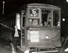 Springfield Illinois Trolley Car. Last Ride New Year's Eve 1937. Courtesy of Springfield Rewind and Sangamon Valley Archives.